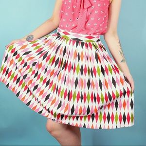 Harlequin Print Pin Up Skirt